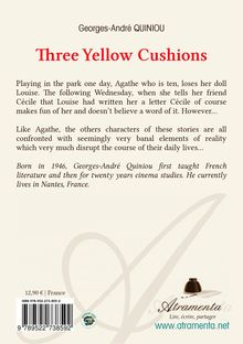 "4ème de couverture de ""Three yellow cushions"""
